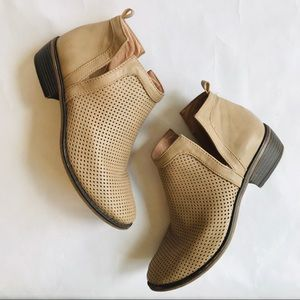RESTRICTED Perforated Open Side Ankle Booties
